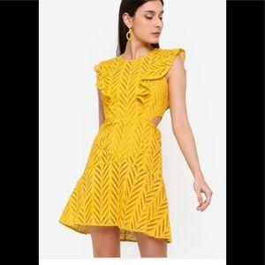 Bardot Yellow Kira Crochet Ruffle Dress